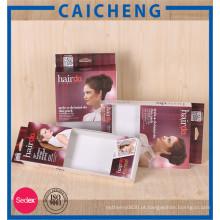Caixa de papel de empacotamento de extensão de cabelo personalizada com janela de PVC
