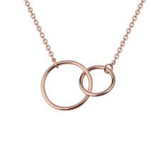 Minimalism Stainless Steel Double Circle Rose Gold Plain Linked Interlocking Friendship Necklace