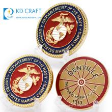 High quality blanks metal custom logo embossed 3D enamel souvenir american military usmc marine corps challenge coin