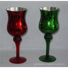 High Quality Electroplating Glass Stem Candle Holder (DRL06162)