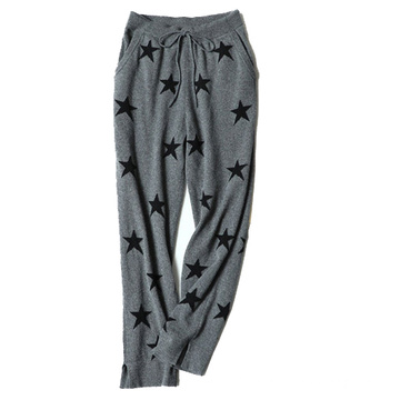 100% cashmere women knitwear with high waists to keep warm and wear casual stars straight down long trousers