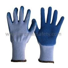 10 Gauge Grey Tc Gestrickte Handschuhe mit Blue Crinkle Latex Palm Coated