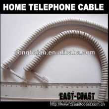 Coiled home telephone cable