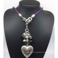 Leather Chain Alloy Heart Beads Necklace (XJW13783)