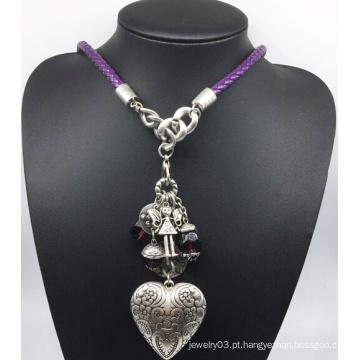 Couro cadeia liga coração colar de miçangas (xjw13783)