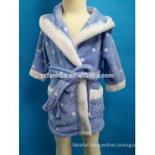 Kids Age Group Spots printed Hooded Coral fleece bathrobe