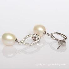 925 brincos de pérola de água doce de moda de prata (ER1424)