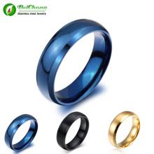 Moda anillo joyería clásica azul titanio anillo de acero