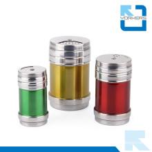 Colourful Rotatable Stainless Steel Salt Pepper Spice Seasoning Condiment Bottle