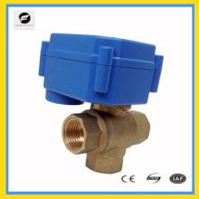 T fluxo de 3 vias Válvula elétrica 12V / DC para detecção de vazamento e sistema de desligamento de água, sistema de economia de água, válvula de controle automático