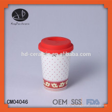 Keramik-Doppelwand-Trommel mit Silikon-Deckel, kundenspezifische Design-Tasse mit Silikon-Deckel