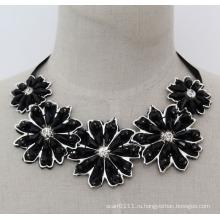 Ручной работы из бисера Кристалл мода Шарм коренастый нагрудник костюм колье ожерелье (JE0005)