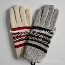 Stripped Design Gants en tricot gris d'hiver Gants acryliques crémeux et blancs