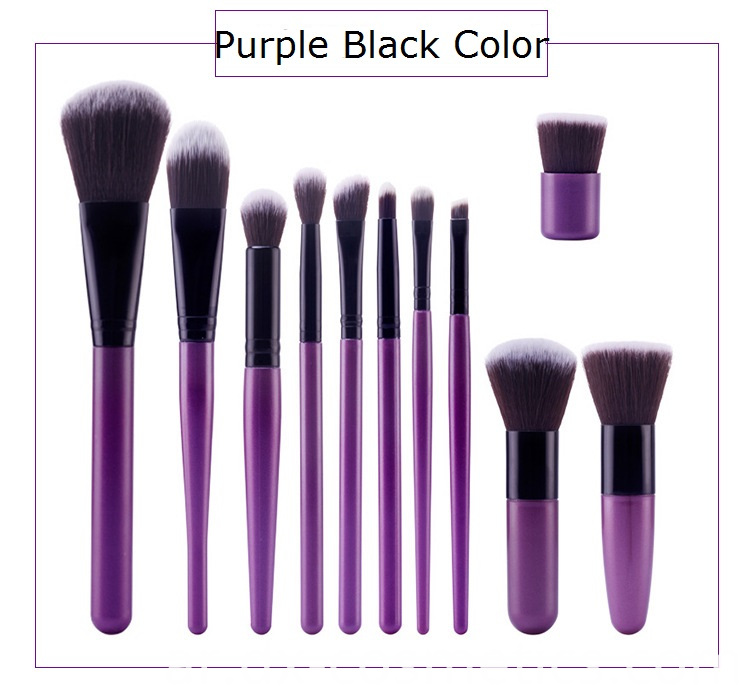 Purple Black Makeup Brush Set Color