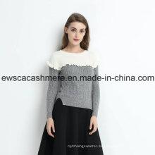 Suéter de cachemira pura de 2 colores para mujeres con Falbala