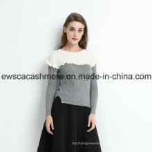 2 Colors Women Pure Cashmere Sweater with Falbala