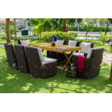 Poly Rattan conjunto de comedor al aire libre con mesa de madera para el jardín de Vietnam