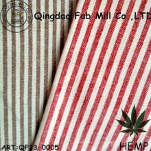 Fio-tingido de cânhamo / tecido de listra de algodão orgânico (QF13-0005)