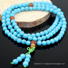2015 Gets.com 108 perles japa mala, turquoise synthétique, avec l'agate rouge, ronde, 4 stran