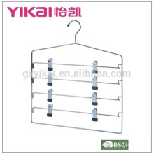 Multifuctional space saving chrome plated metal skirt hanger with 4 tiers of clips