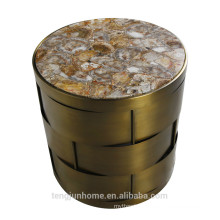 CANOSA Chinese fresh water shell coffee table with golden cooper