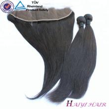 9A Grade Alta calidad Base de seda 13 * 4 del cordón del pelo de la Virgen Frontal con el pelo natural del bebé