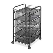 4 Tier Rolling Metal Mesh Storage Cart with Drawers file cabinet