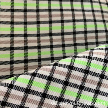 Polyester Viscose Checks High Stretch Stoff