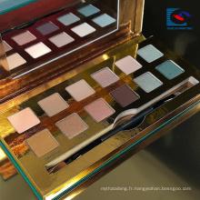 Palette de fard à paupières makeupe élégante en papier couleur or avec pinceau