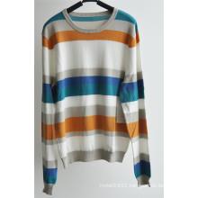 100%Cotton Round Neck Striped Pullover Men Sweater