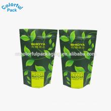 saco de chá vazio preto sem impressão / brilhante matte stand up pouch com saco de chá ziplock