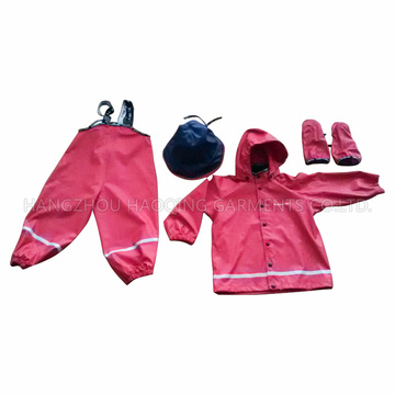 PU Red Solid Reflective Rainwear for Children/Baby