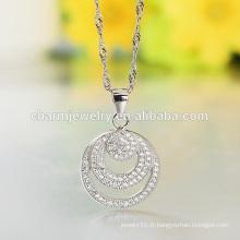 Round Silver Necklace 2016 Wholesale Factory Produit 925 Collier en argent Designs Girls SCR015