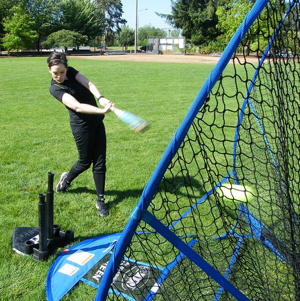 Portable folding big mouth baseball batting net