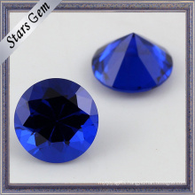 113# Aqua Blue Round Machine Cut Factory Direct Sales Artificial Spinel Gemstone for Jewelry