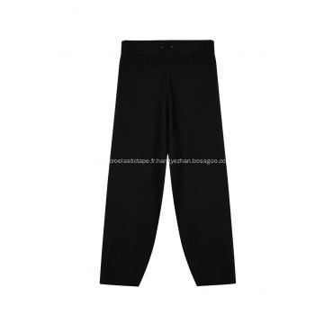 Pantalon large côtelé tricoté à taille élastique pour femmes