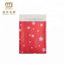 Christmas Snowflake Design Metallic Aluminum Foil Custom Red Bubble Mailers Padded Envelope