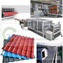 Chaîne de production de tuile de toit de PVC / chaîne de production en plastique de tuile de toit / chaîne de production de tuile de toit / tuile de toit faisant la machine / tuile de toit en résine synthétique ondulée d'Asa