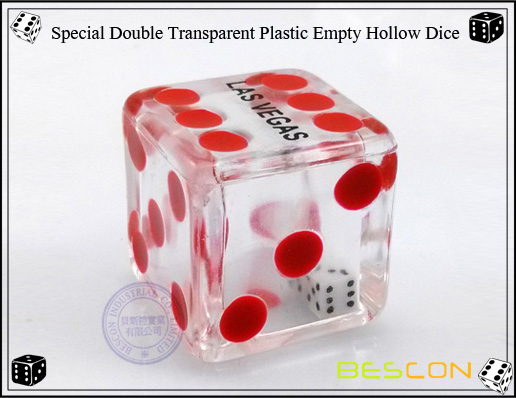 Bescon- Special Double Transparent Plastic Empty Hollow Dice