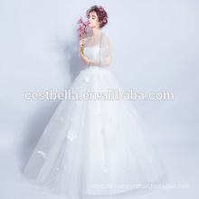 Heißer Verkaufs-gutes Qualitäts-preiswertes Boots-Ausschnitt-Brauthochzeits-Kleid