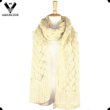 Women Cream Soft Crochet Knit Winter Scarf
