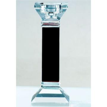 Decoração de castiçal de vidro preto