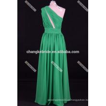 Violeta púrpura una línea de un hombro vestido de dama de honor de gasa