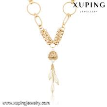moda 18k cor de ouro de bronze colar longo colar de jóias