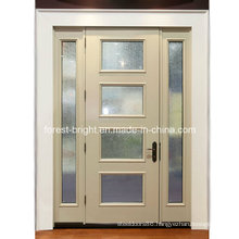White Entry Door with Stained Glass Inserts