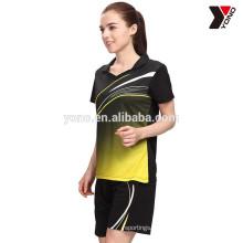 Hot vente personnalisé sublimation badminton polo et court en stock badminton jersey, dernière conception pas cher
