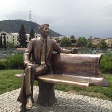 outdoor decoration garden bronze man sculpture sitting on bench