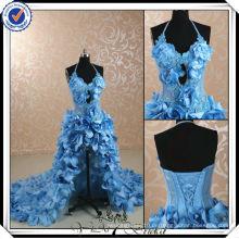 JJ2999 kurze vordere lange rückseitige helle himmelblaue Hochzeitskleidmuster 2014