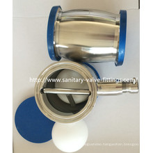 38mm Sanitary Stainless Steel Ball Type Check Valve Welded with Drain