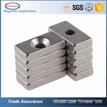Sintered NdFeB Neodymium Block Magnets with Screw Countersunk Hole